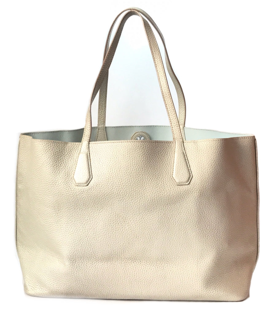 Tory Burch PERRY Reversible Silver Soft Leather Shopping Tote | Like New |