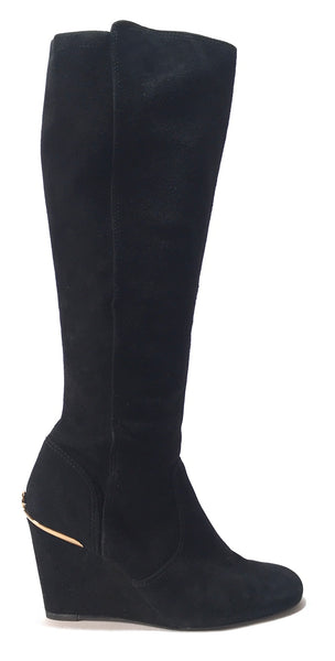 Tory Burch Black HENEDIN Suede Wedge Boots | Gently Used |