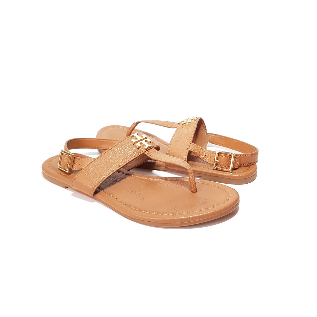 Tory Burch Tan T Strap Leather Sandals | Gently Used |