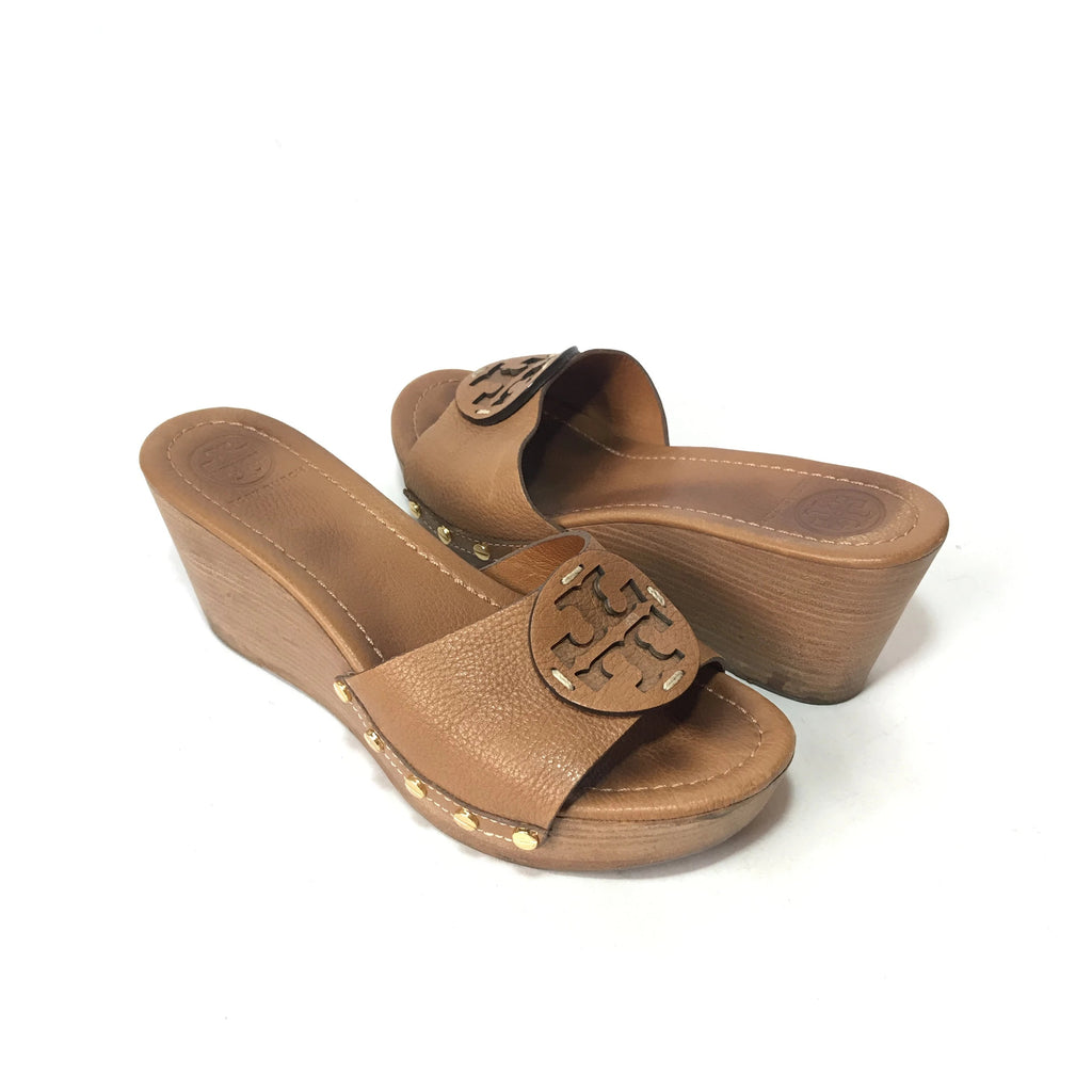 Tory Burch Tan Patti Leather Wedges | Pre Loved |