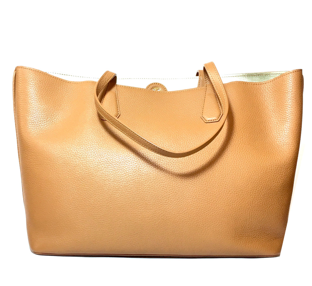 Tory Burch PERRY Tan Pebbled Leather Reversible Tote | Like New |