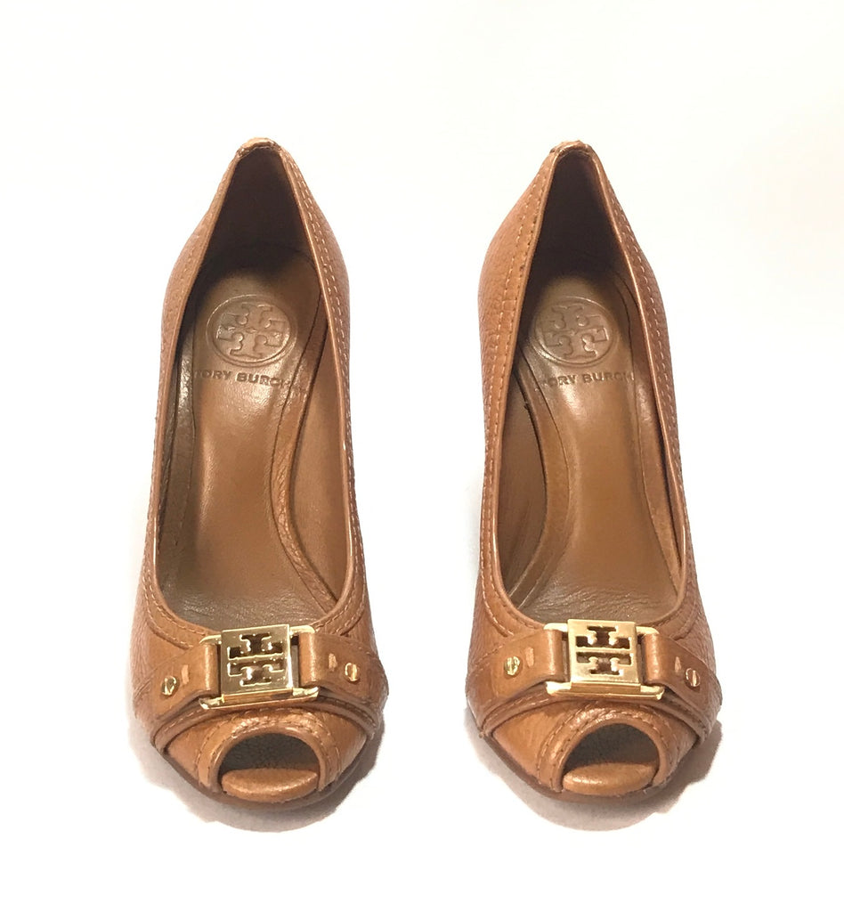 Tory Burch Tan Peep Toe Leather Wedges | Gently Used |