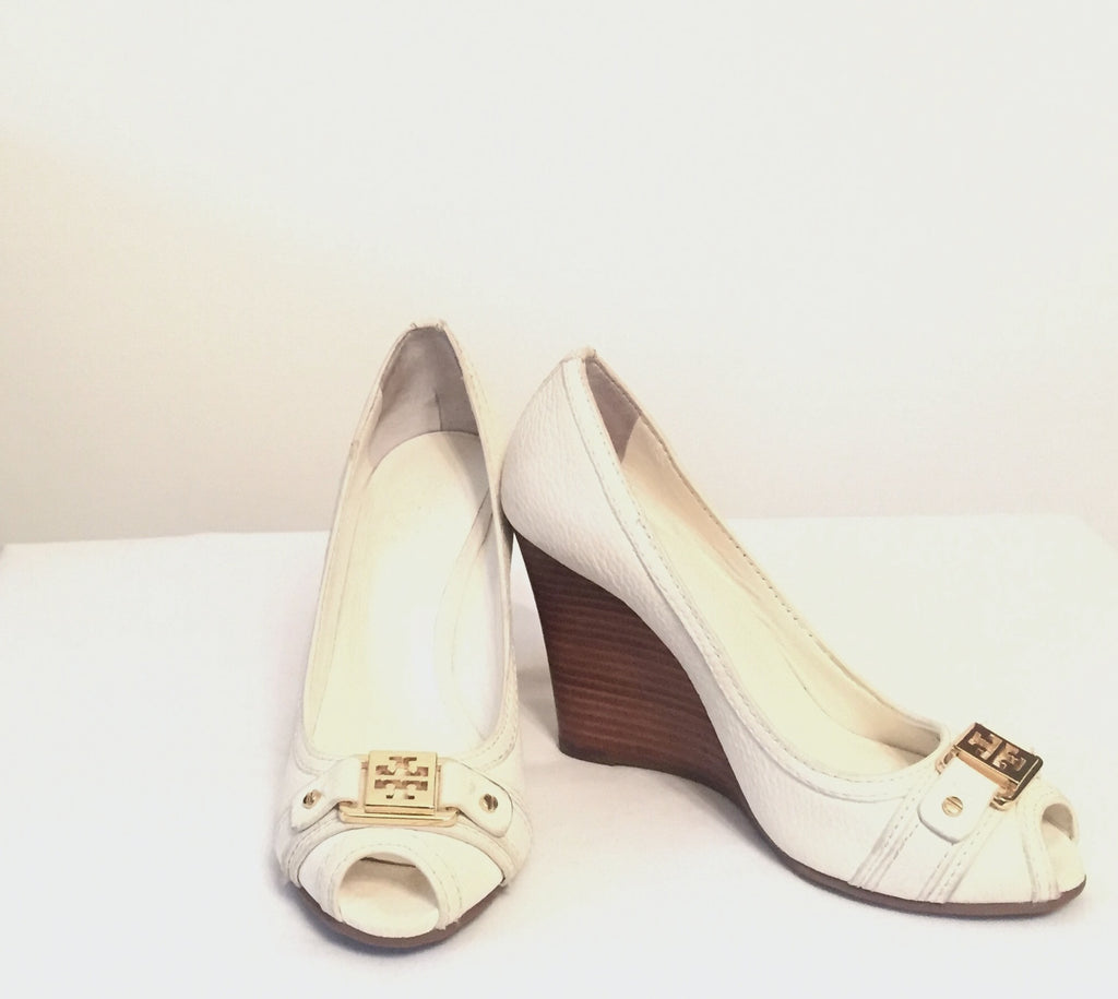 Tory Burch Leather Peep-toe Wedges | Brand New | - Secret Stash