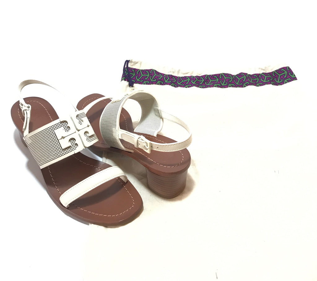 Tory Burch Double Strap White Block Heels | Like New |