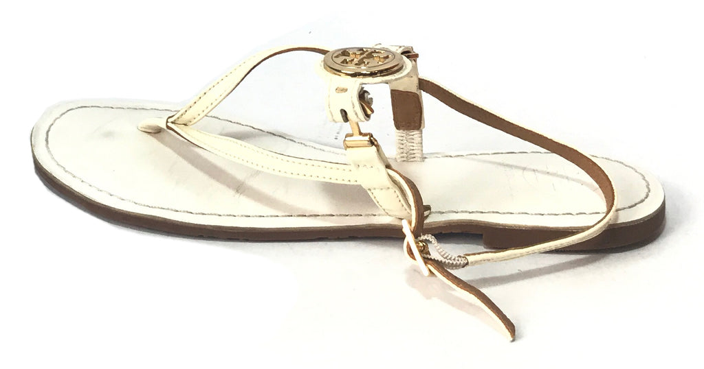Tory Burch White Logo Thong Sandals | Pre Loved |