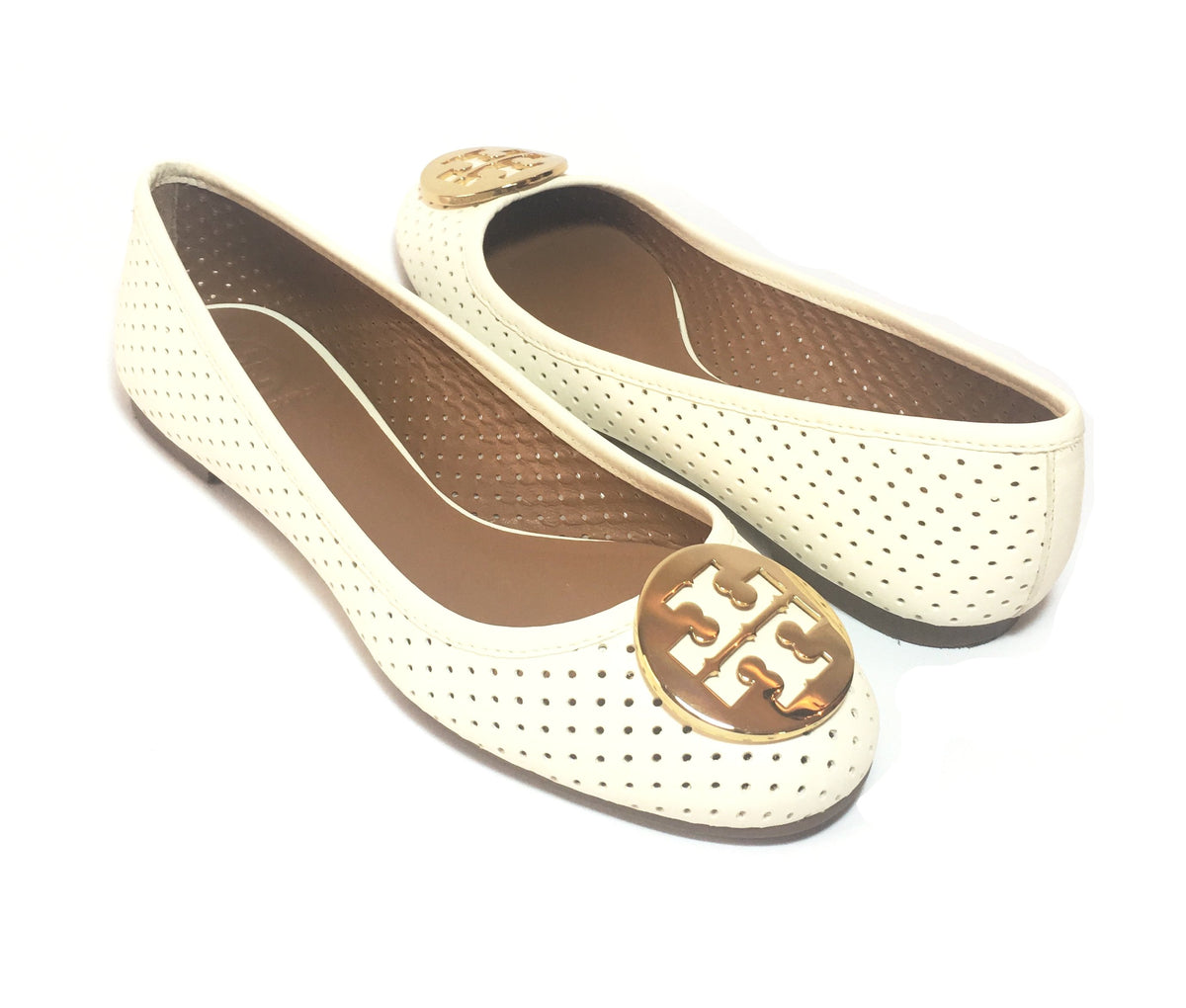 60a373ddc4b Tory Burch Ivory  Perforated Reva  Ballet Flat