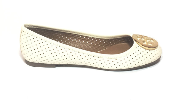 Tory Burch Ivory 'Perforated Reva' Ballet Flat | Brand New |