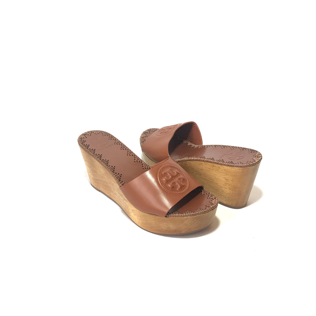 Tory Burch 'Patty' Tan Leather Platform Wedges | Brand New |