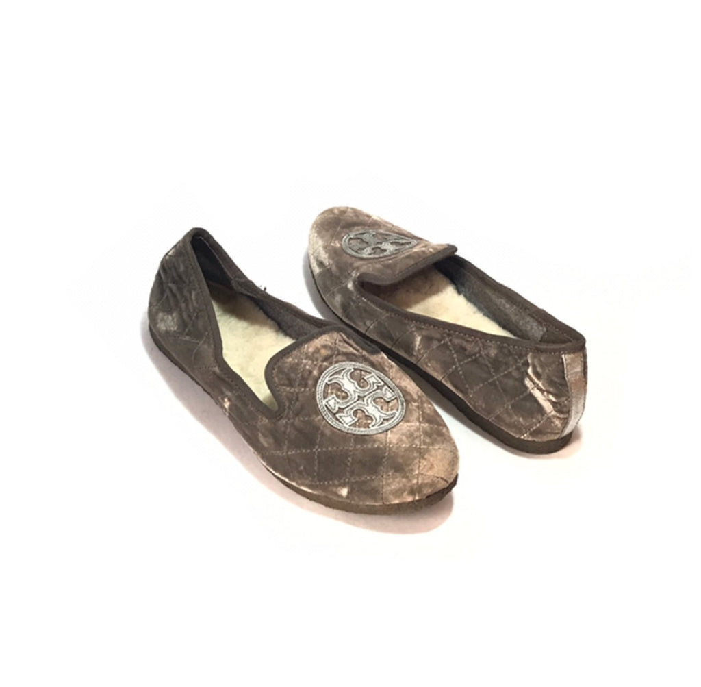 Tory Burch 'Billy' Quilted Velvet Slippers | Like New |