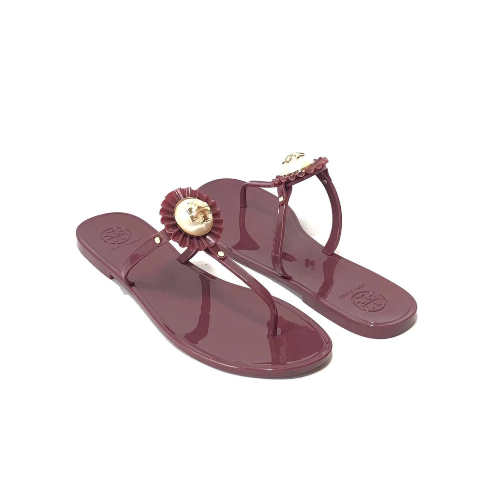 Tory Burch 'Melody' Pearl Maroon Gold Jelly Sandals | Brand New |