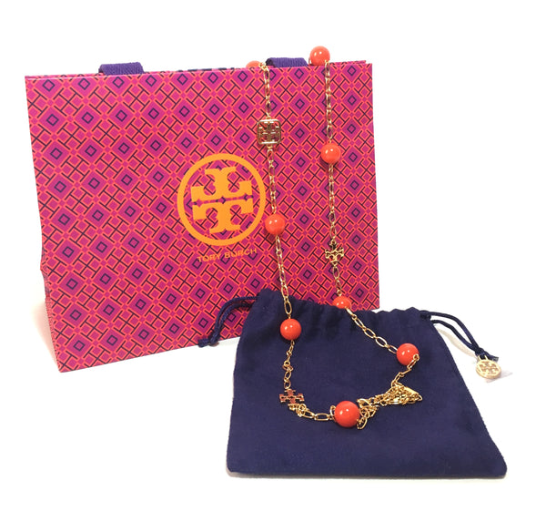 Tory Burch Colorful Evie Logo Chain Rosary Necklace | Brand New |