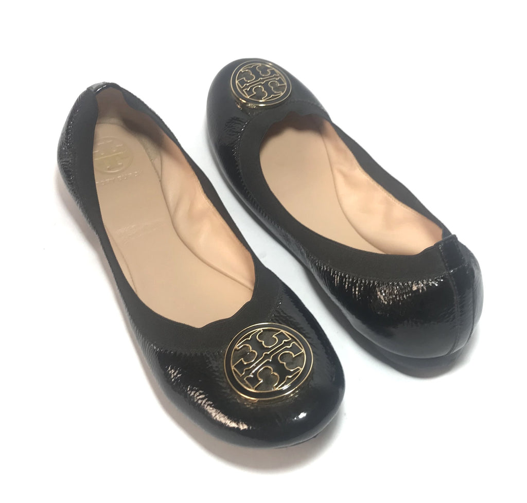 026b8b716a2 Tory Burch  Caroline  Black Patent Leather Ballet Flats