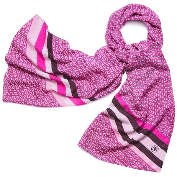 Tory Burch 'Gemini Link Striped Oblong Hibiscus Flower' Scarf | Brand New |