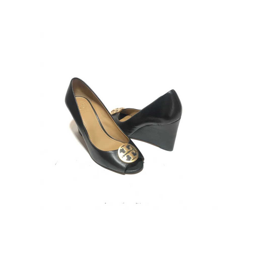 Tory Burch Black Leather 'Benton' Peep-toe Wedges | Gently Used |