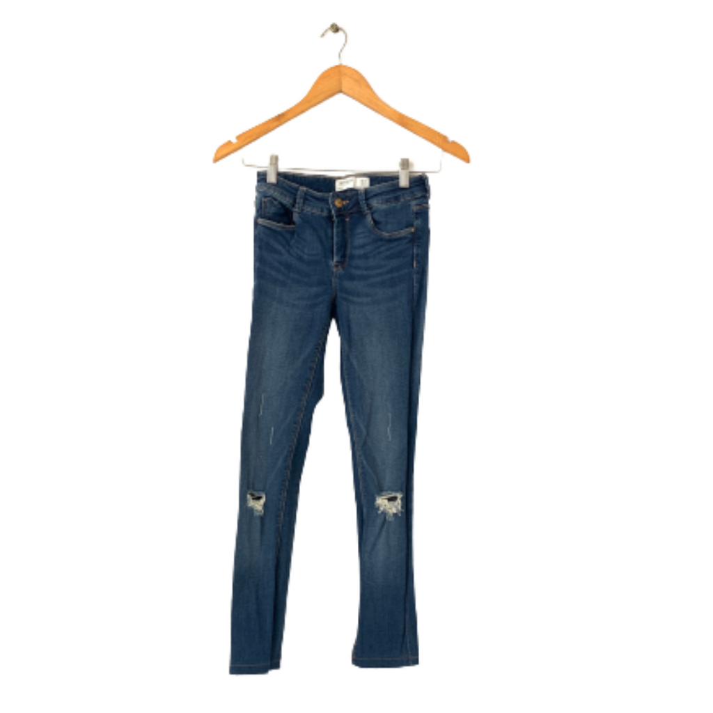 ZARA Blue Denim Distressed Jeans | Gently Used |