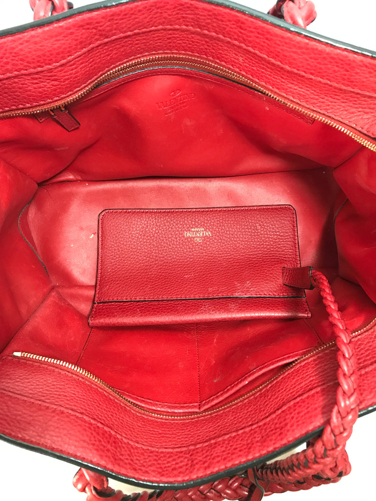 Valentino Red Leather Braided Handles Tote | Pre Loved |
