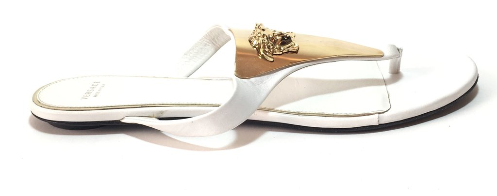 Versace White & Gold Thong Sandals | Gently Used |