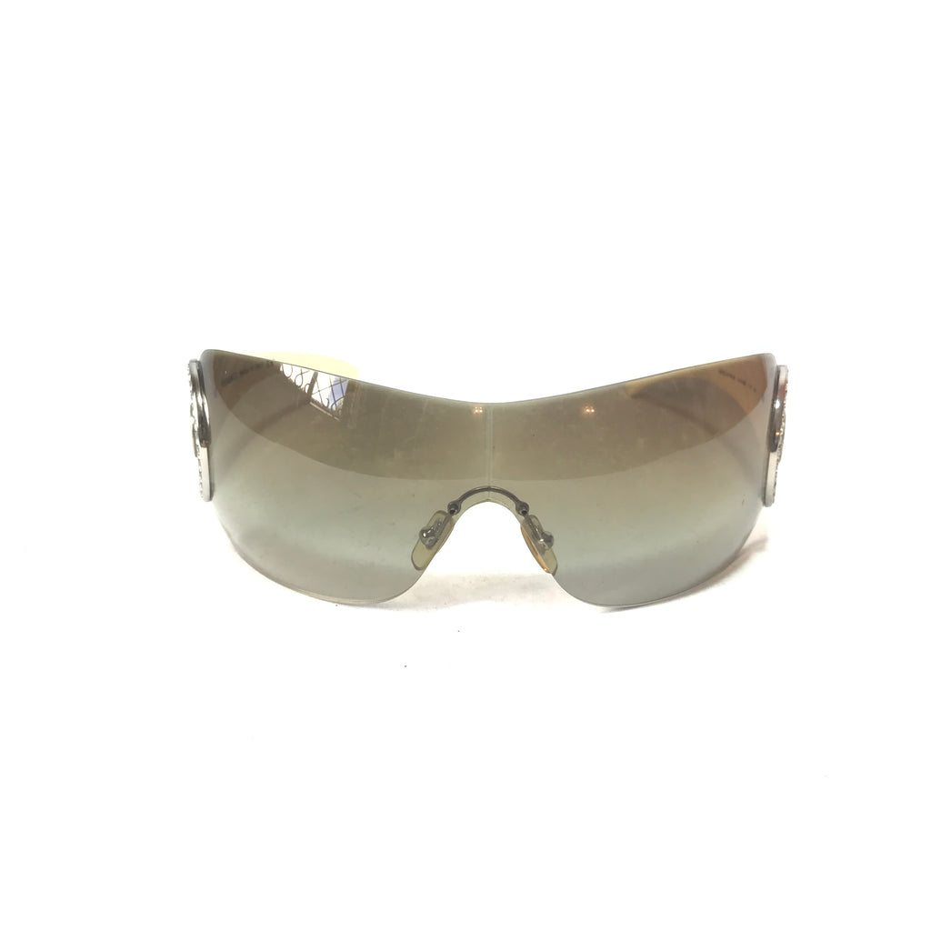 Versace Wraparound Rhinestone Sunglasses | Pre Loved |