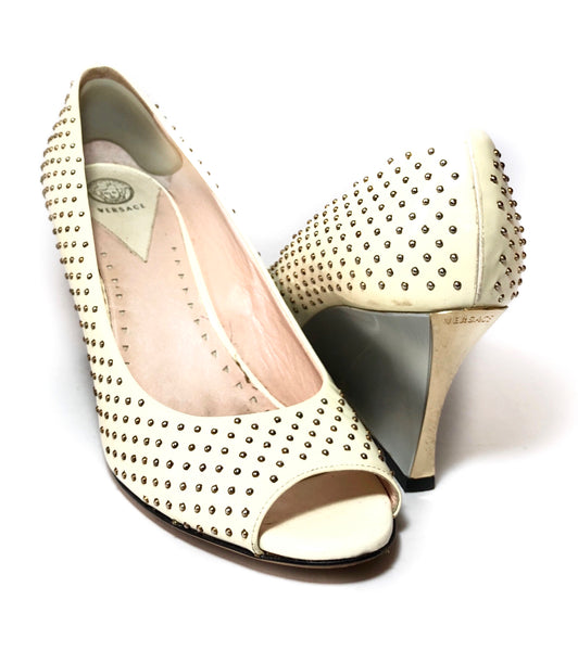 Versace White Leather Silver Stud Peep-toe Wedges | Pre Loved |