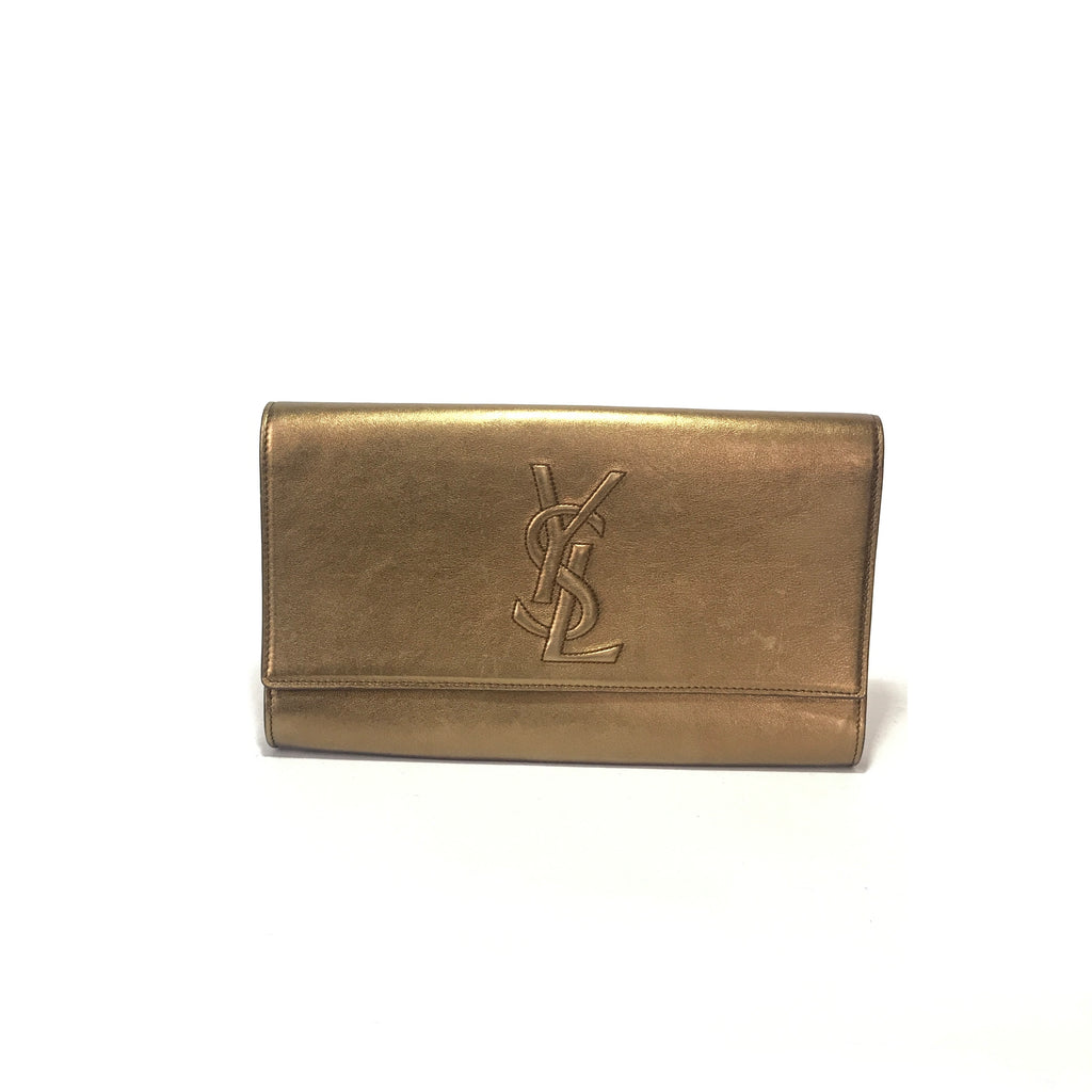 Saint Laurent 'YSL Belle de Jour' Bronze Leather Clutch | Pre Loved |