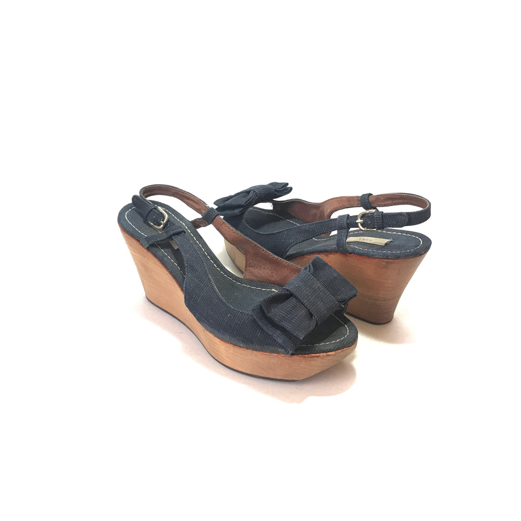 Zara Denim Wooden Platform Wedges | Pre Loved |
