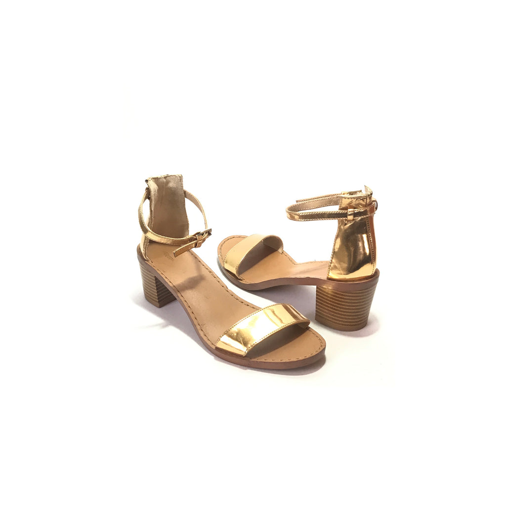 Zara Gold Single Strap Block Heels  | Pre Loved |