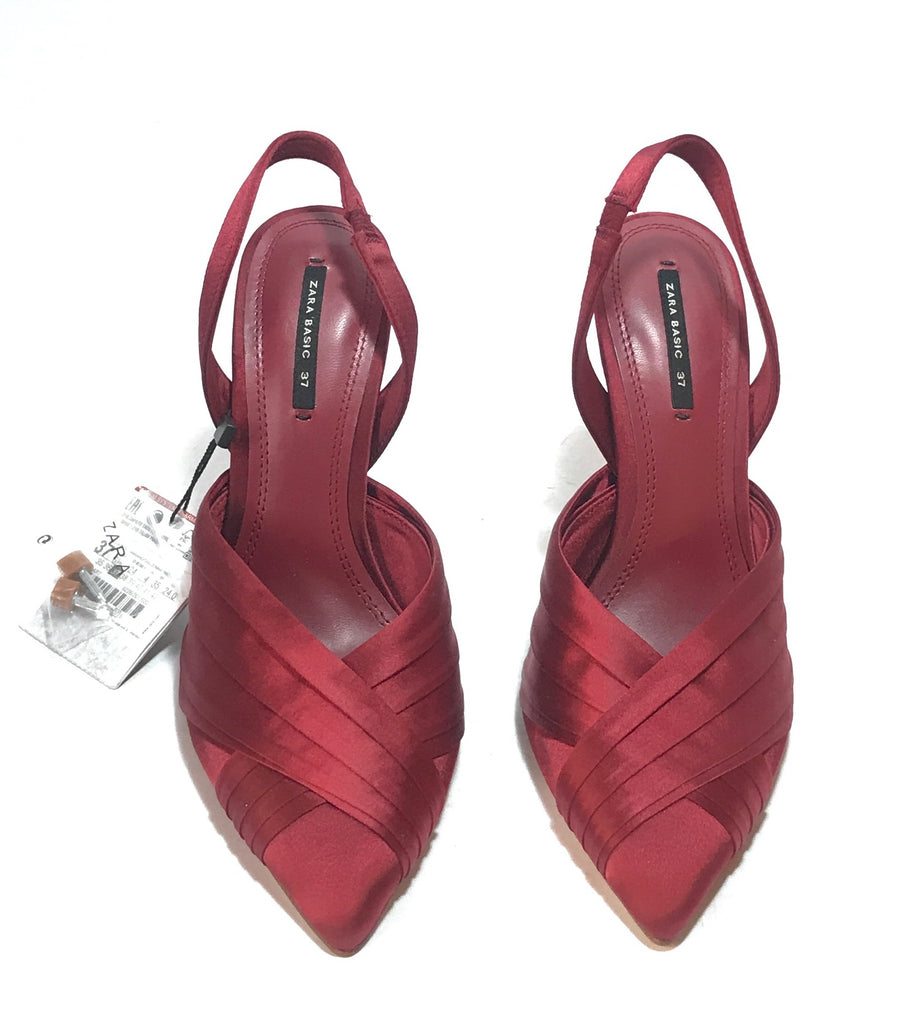 ZARA Red Satin Pointed Slingback Heels | Brand New |