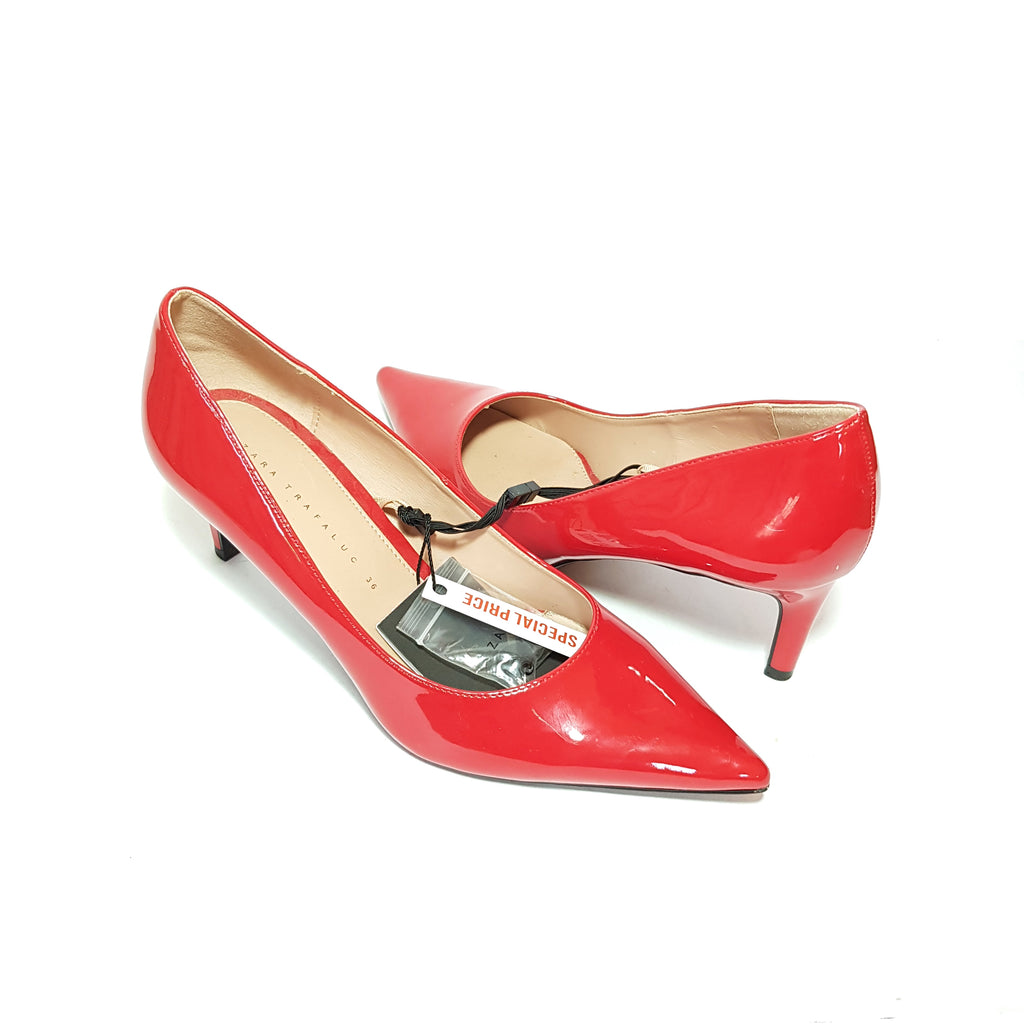 ZARA Red Patent Pointed Pumps | Brand New |