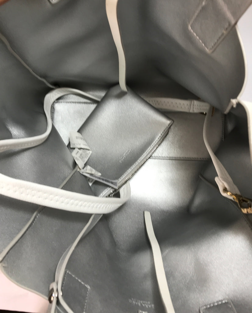 ZARA White & Silver Reversible Tote Bag | Like New |