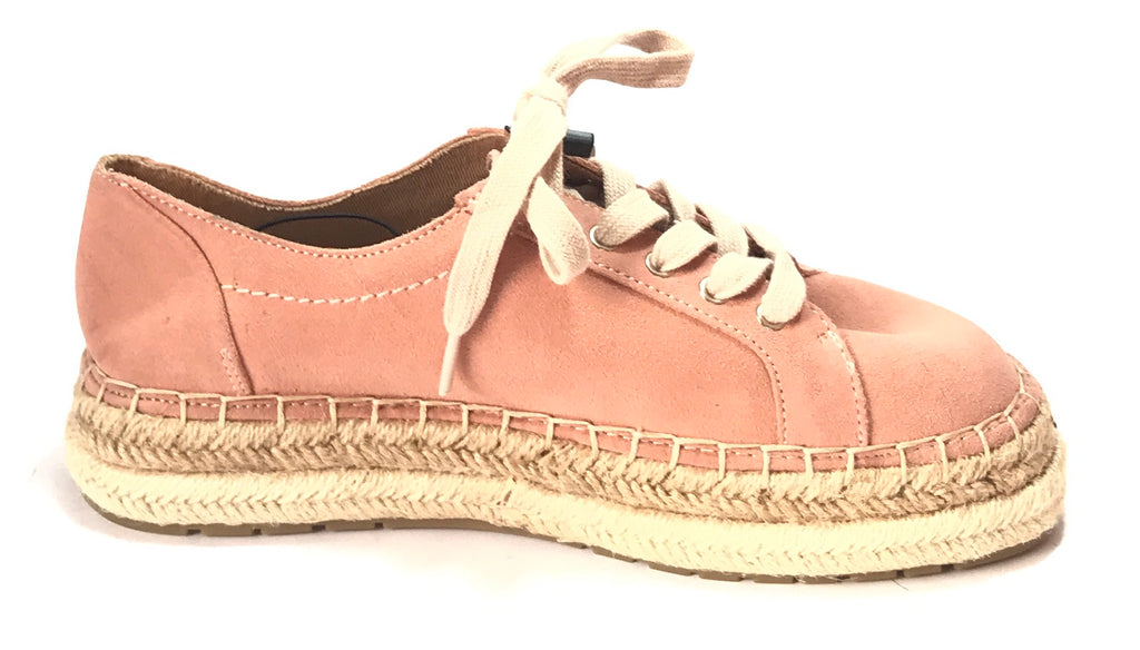 ZARA Pink Suede Lace Espadrille Wedge Sneakers | Brand New |