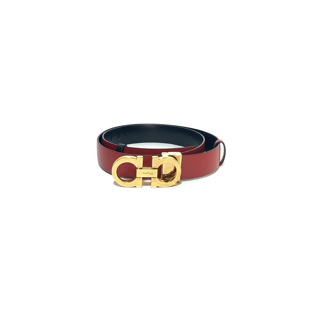 Salvatore Ferragamo Red & Black Gancini Reversible Leather Belt | Like New |
