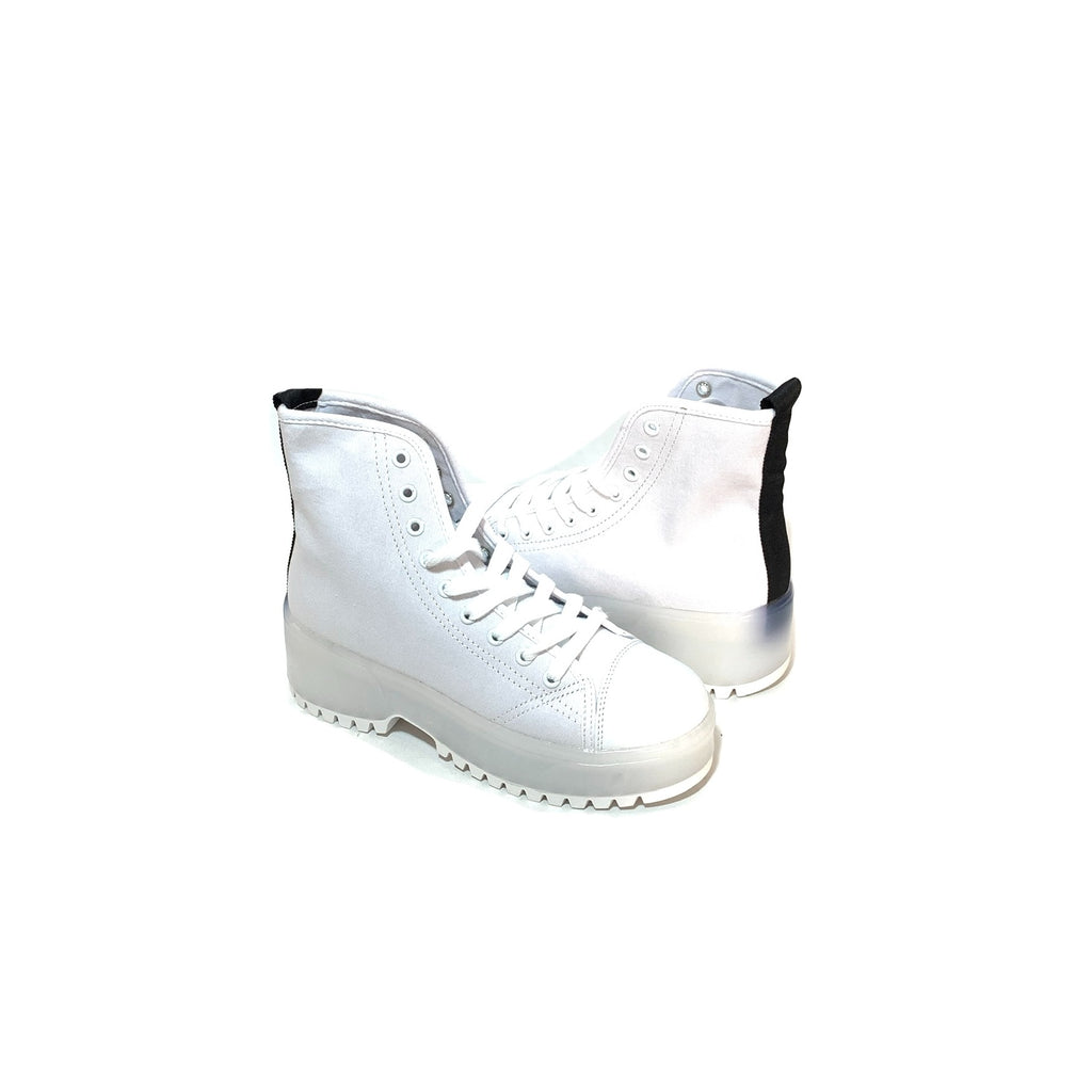 Truffle Collection White Canvas Sneaker Boots | Like New |