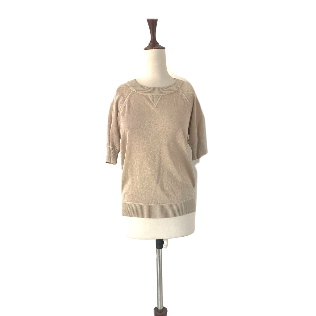 Club Monaco Light Gold Glitter Knit Top | Gently Used |