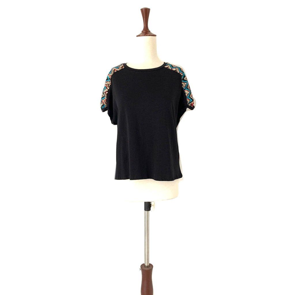 ZARA Black Sequins Cap-Sleeved Shirt | Gently Used |
