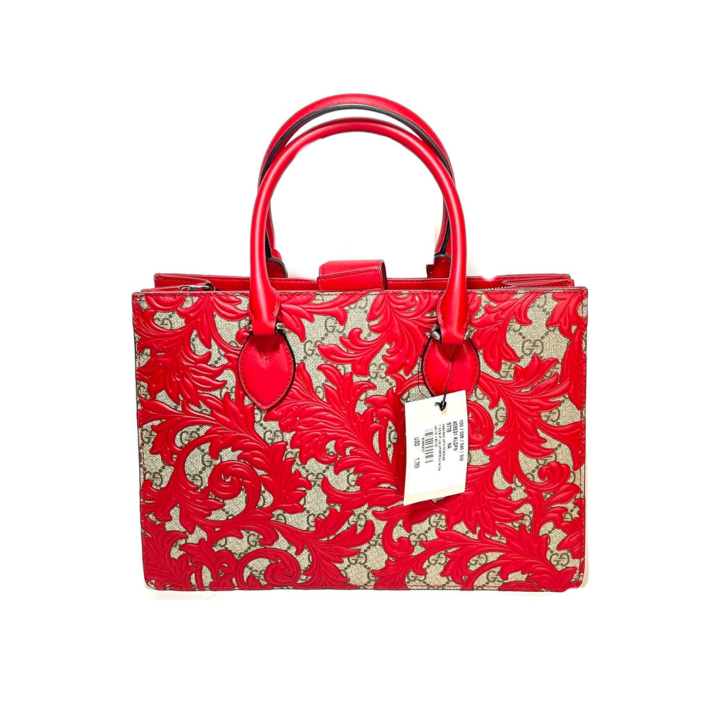 Gucci Beige Arabesque Canvas & Red Leather Top Handle Tote | Brand New |
