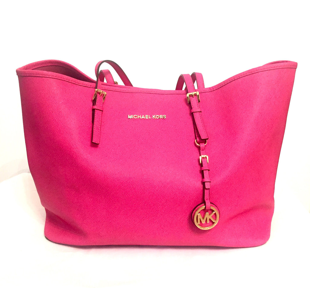 Michael Kors Fuchsia Saffiano Leather Tote Bag | Gently Used | - Secret Stash