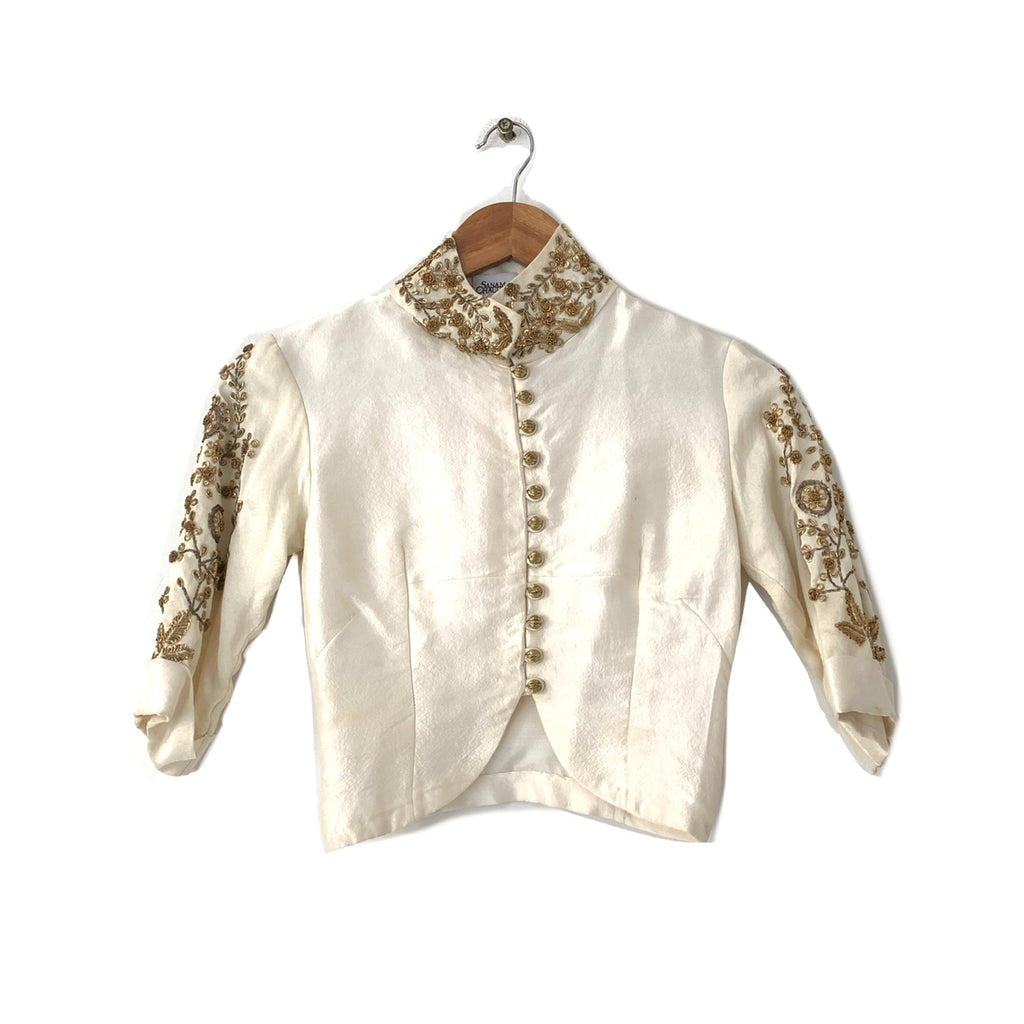 Sanam Chaudhri Cream Silk Embroidered Cropped Top and Pants | Pre Loved |