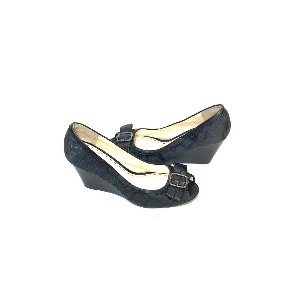 Coach Black 'ANDI' Monogram Peep-toe Wedges | Pre Loved |