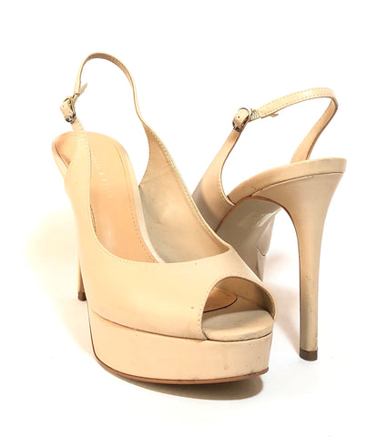 Charles & Keith Nude Leather Peep-toe Slingback Platform Heels | Pre Loved |