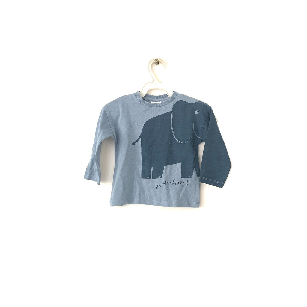 ZARA Blue Elephant Long Sleeved T-Shirt | Brand New |