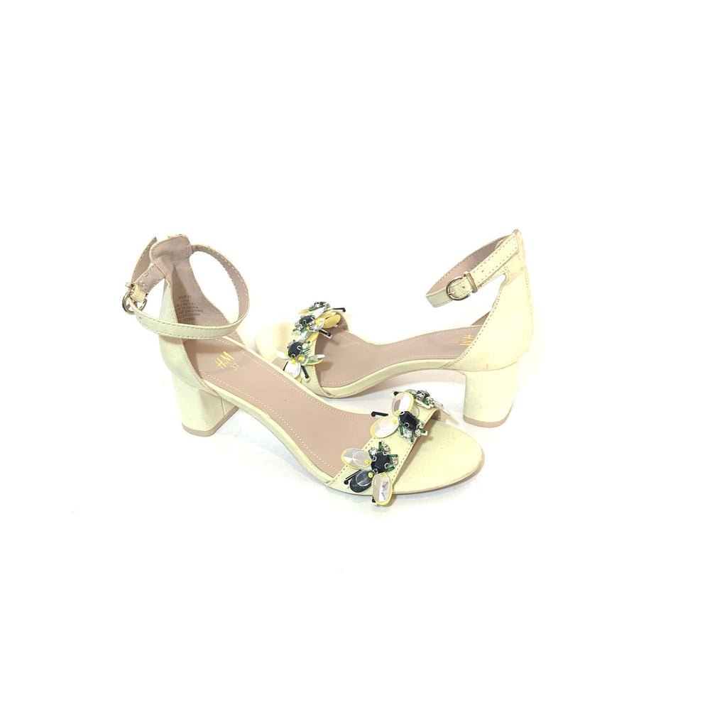 H&M Nude Floral Block Heel Sandals | Brand New |
