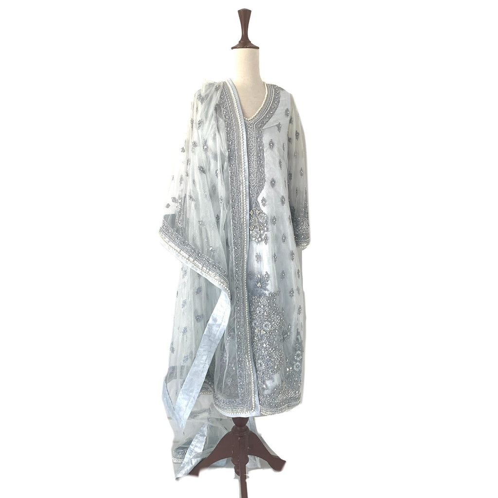 Rizwan Beyg Light Blue & Silver Pearl Embroidery Outfit | Gently Used |