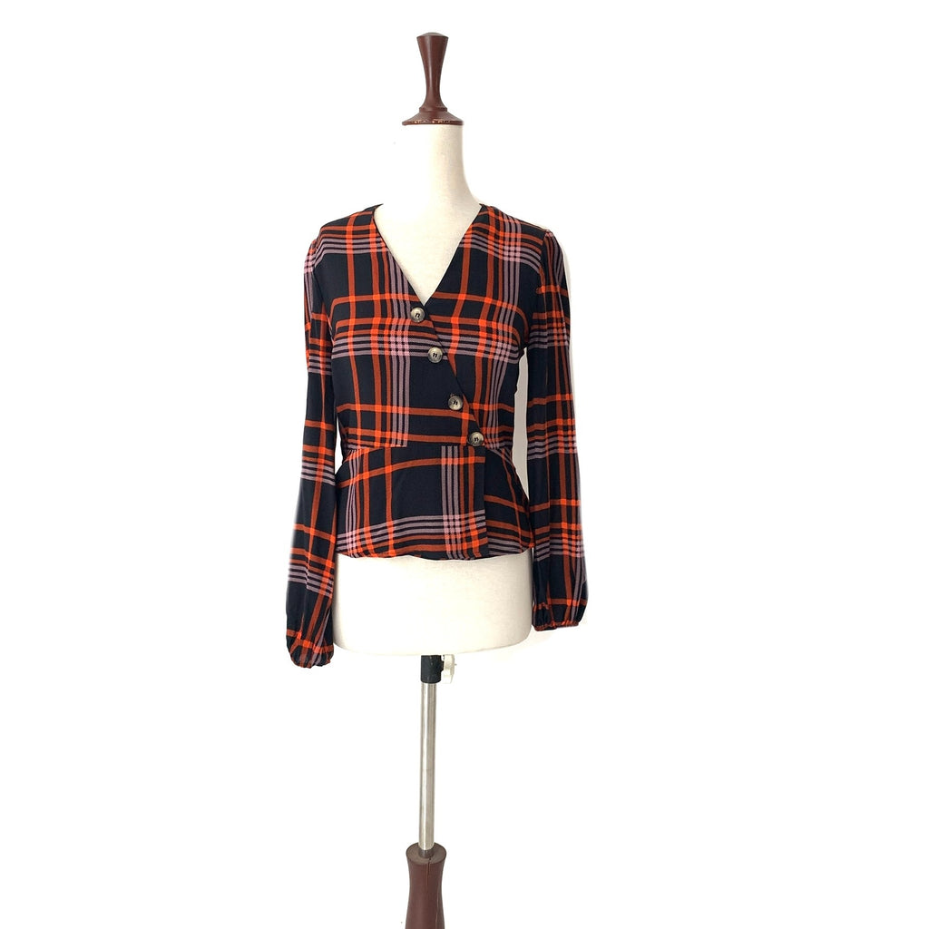 Red Herring Black & Orange Checked Top | Gently Used |