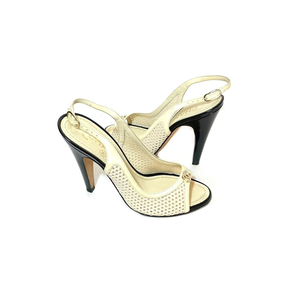 Chanel White Laser Cut Sandals | Pre Loved |