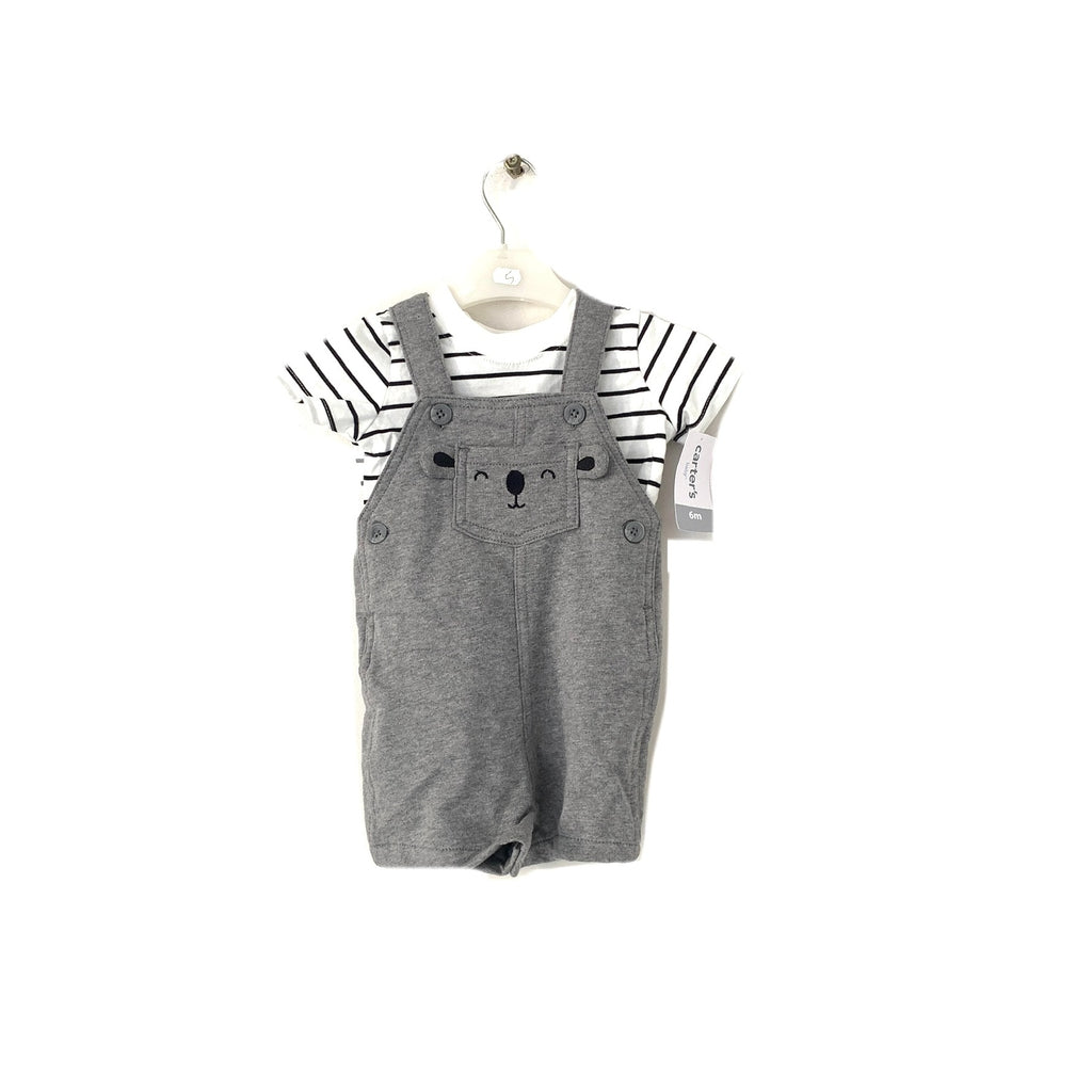 Carter's Grey Romper with White Stripe T-Shirt | Brand New |