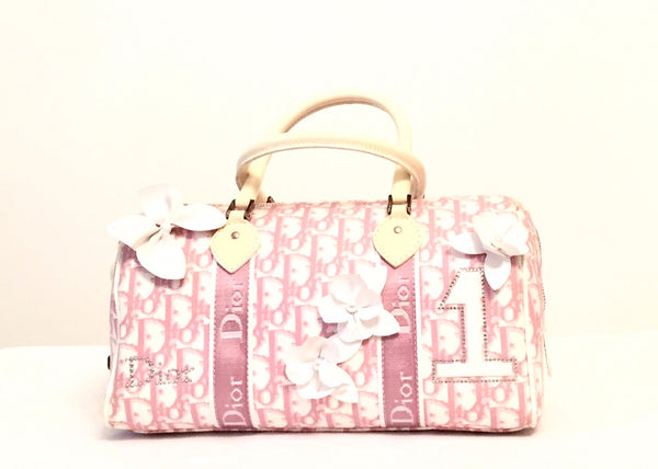 Christian Dior Pink Canvas & Leather Floral Monogram Bag | Gently Used | - Secret Stash