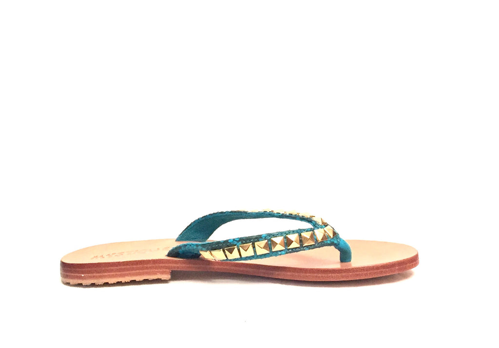 MYSTIQUE Turquoise & Gold Stud Sandals | Brand New | - Secret Stash