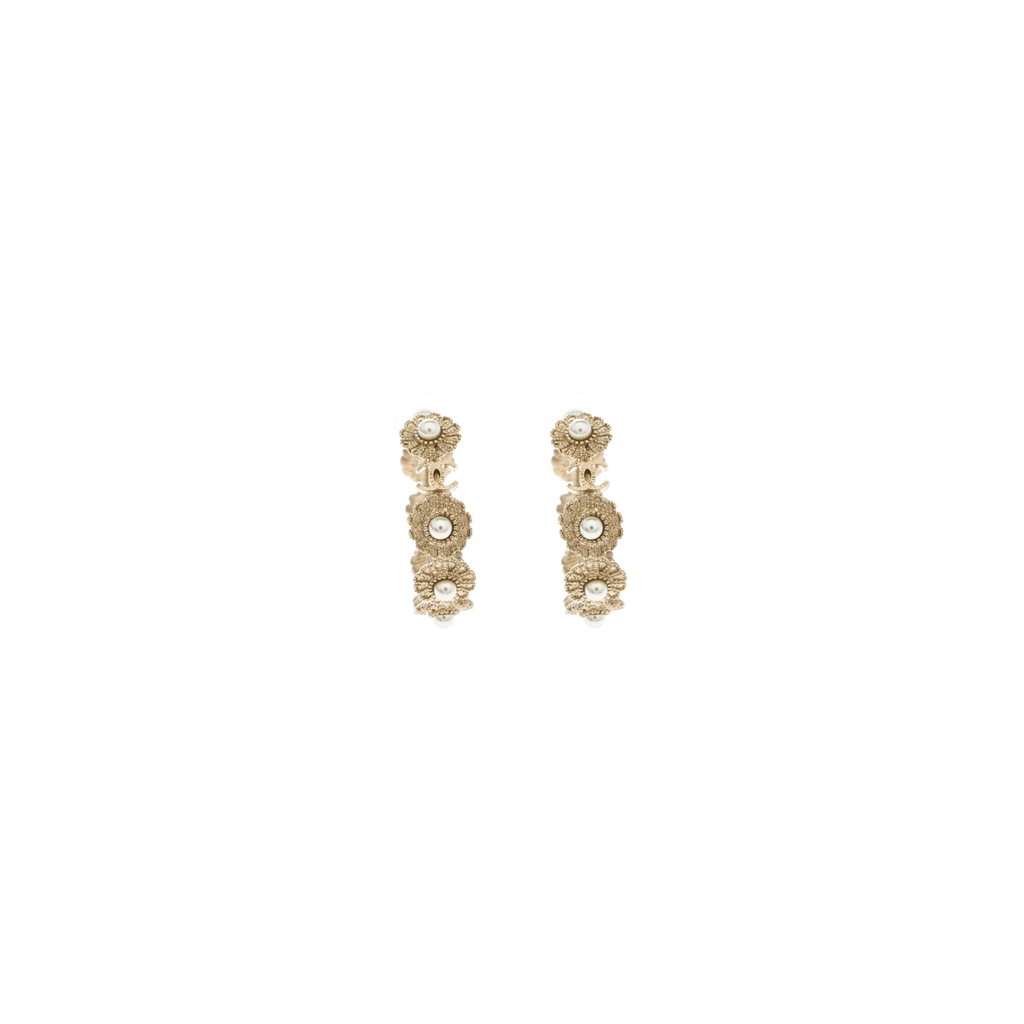 Chanel Light Gold Pearl Floral Hoops | Gently Used |