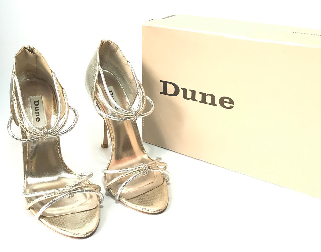 Dune Gold Strappy Heels