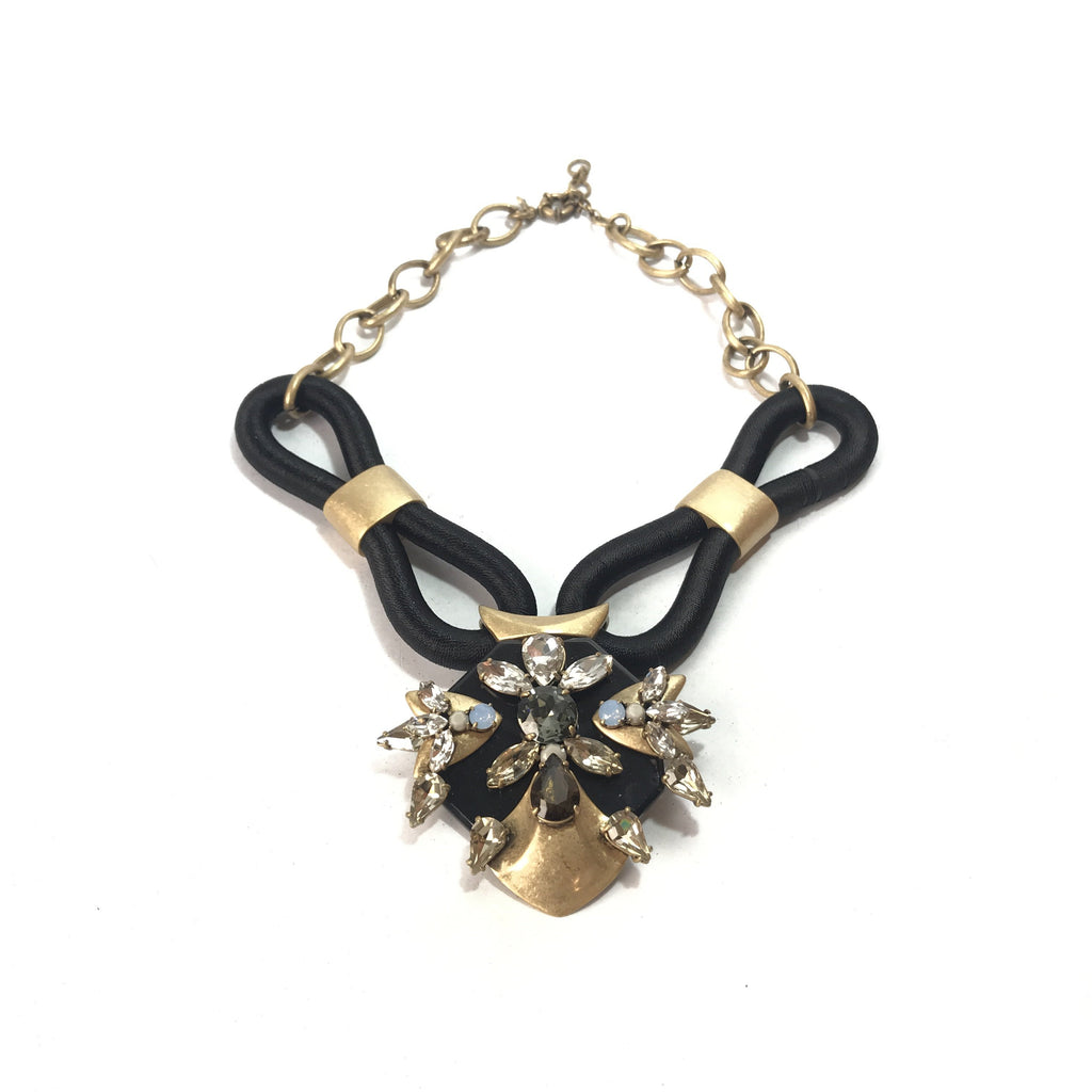 J.Crew Black Jeweled Statement Necklace